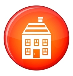 Two-storey house with chimney icon flat style vector