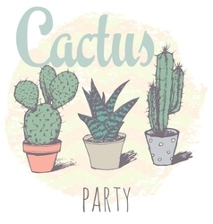 Vintage cactus print for t-shirt with slogan vector