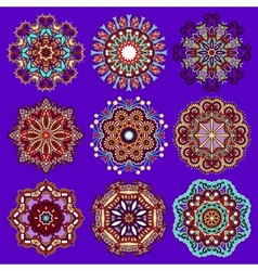 Violet colour circle lace ornament vector