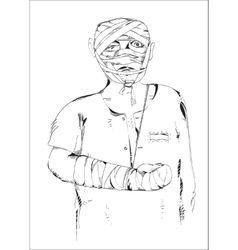 Wounded man vector