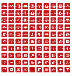 100 telecommunication icons set grunge red vector