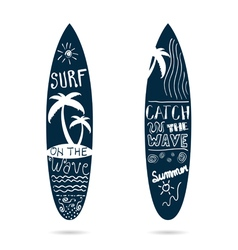 Surfboard set textured in blue color vector