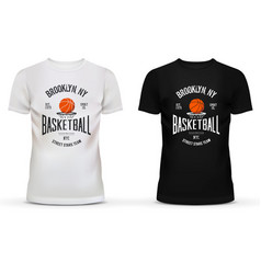 T-shirt cotton sportswear with basketball theme vector