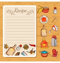 Recipe Book And Kitchenware vector image
