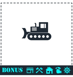 Bulldozer icon flat vector