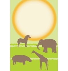 Vertical card with african animals vector