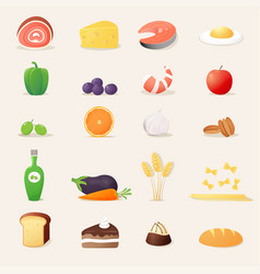 Food icons realistic vector