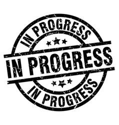 In progress round grunge black stamp vector