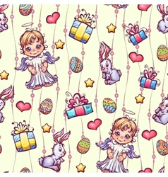 Seamless pattern of cartoon easter elements vector