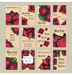 Colourful business cards with doodling flowers in vector image