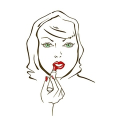 with face of woman applying lipstick vector image