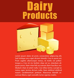 Dairy products with cheese and text vector