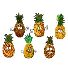 Juicy pineapple fruits cartoon characters vector