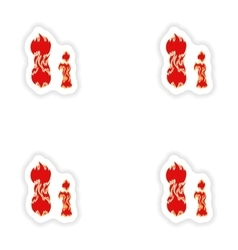 Assembly stickers fiery font red letter i on white vector