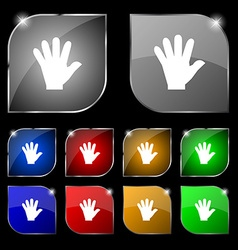 Hand icon sign set of ten colorful buttons with vector