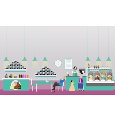 Ice cream cafe interior vector