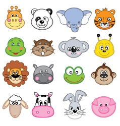 Animal Faces Set vector image vector image