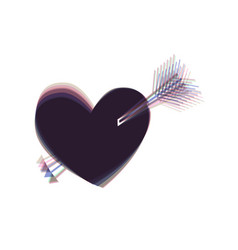 arrow heart sign colorful icon shaked vector image vector image