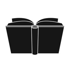 Blue opened book icon in black style isolated on vector