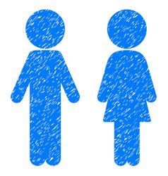 Children couple grunge icon vector