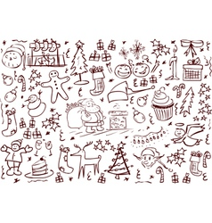 Christmas Symbols Doodles vector image