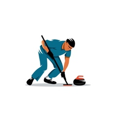 Curling game sign vector image