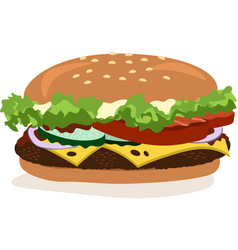 Drawing of hamburger with cheese tomatoes vector