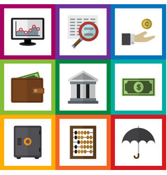 Flat icon finance set of billfold strongbox vector