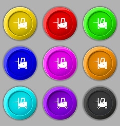 Forklift icon sign symbol on nine round colourful vector image
