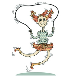 Girl playing with a skipping rope isolated on vector