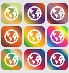 Globe icon sign nine buttons with bright gradients vector