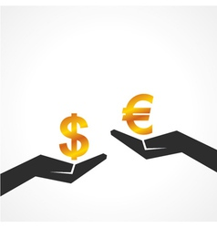 Hand hold dollar and euro symbol to compare vector image