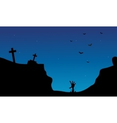 Hand zombie and tomb Halloween scenery vector image vector image