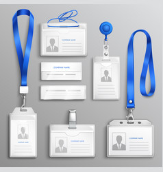 Id card holders realistic set vector