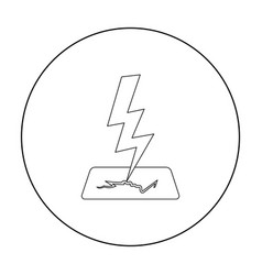 lightning bolt icon in outline style isolated on vector image