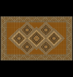 Luxurious ethnic rug with orange and yellow shades vector