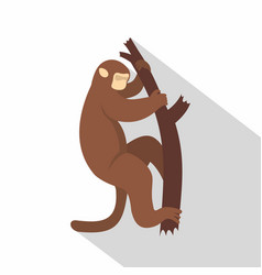 Macaque is climbing up on a tree icon flat style vector