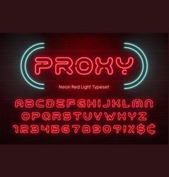 neon light alphabet futuristic extra glowing font vector image