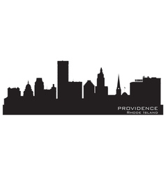 Providence rhode island skyline detailed city silh vector