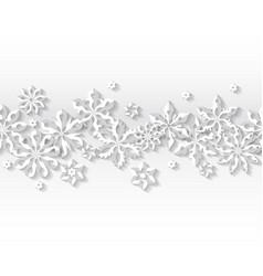 seamless border white snowflakes vector image vector image