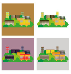 set of smart city with contemporary buildings vector image