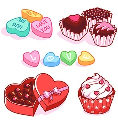 Set of sweets for Valentines Day vector image vector image