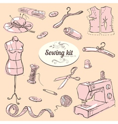 Sewing kit set vector image vector image