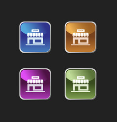Shop icon on colored square buttons vector