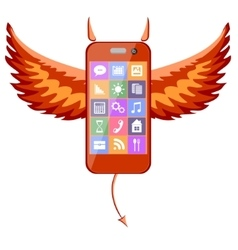 Smartphone devil vector