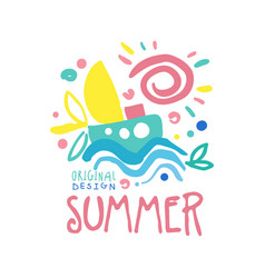 Summer logo template original design colorful hand vector
