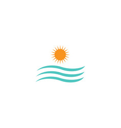 Sun and water wave sea logo design template vector