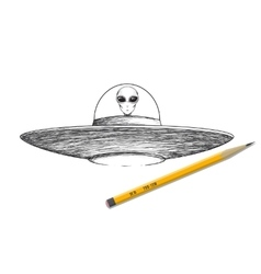 Ufo shaceship with alien vector image vector image