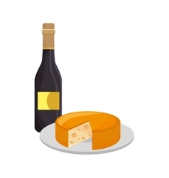 Wine bottle and cheese vector