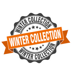 Winter collection stamp sign seal vector